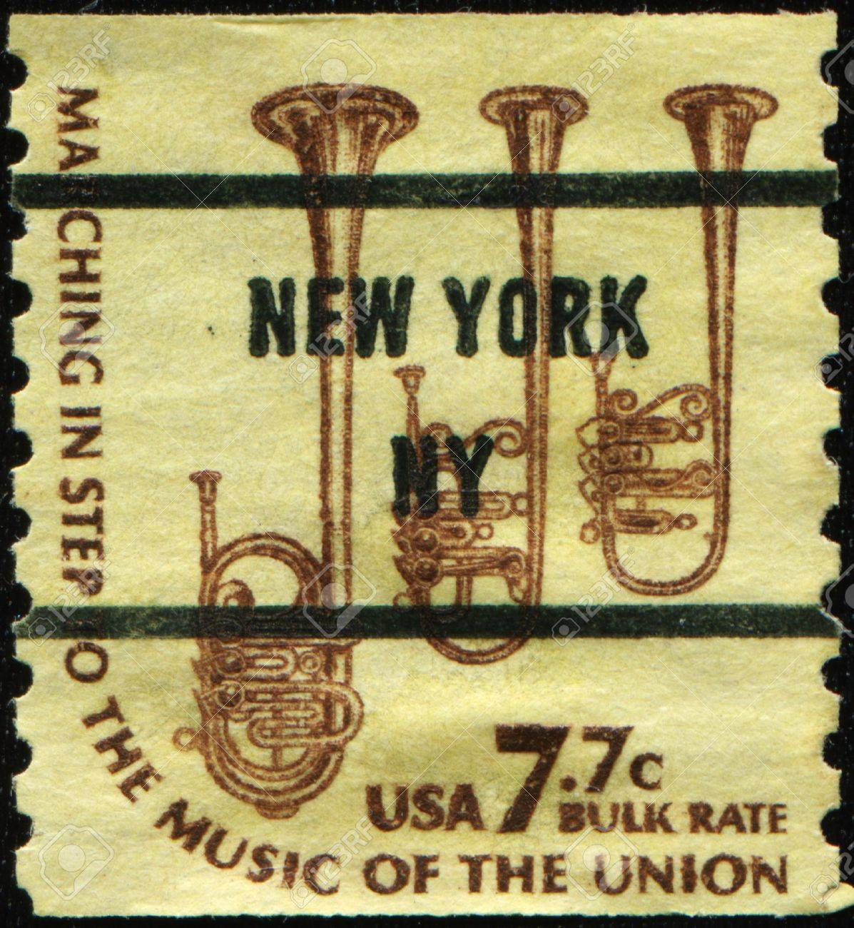 UNITED STATES - CIRCA 1975: A stamp printed in United States of America shows Saxhorns, circa 1975 Stock Photo - 11370174