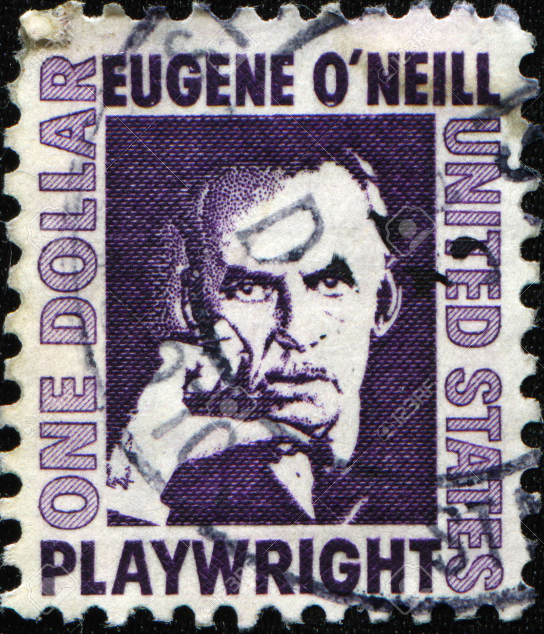 UNITED STATES - CIRCA 1967: A stamp printed in the USA shows American playwright and Nobel laureate in Literature Eugene O'Neill, circa 1967 Stock Photo - 11370345