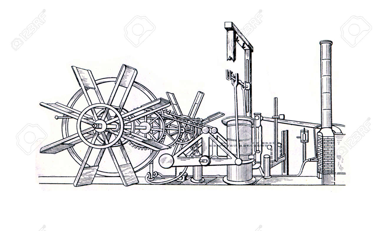 Old Engraver Shows Steam Engine Of Steamboat By Robert Fulton Diagram Claremont 1807