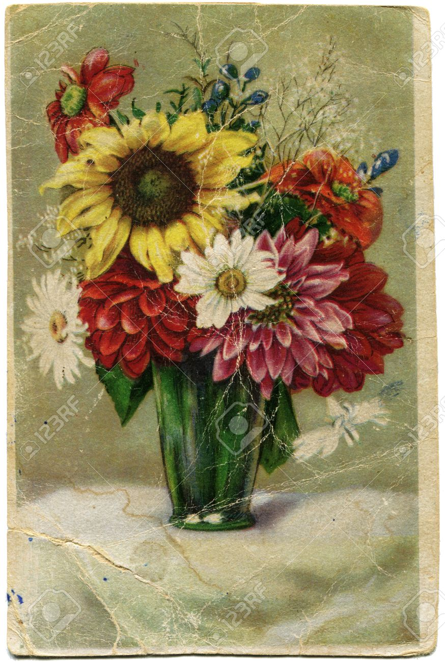 Flowers by post vase - Stock Photo Old Post Card Bouquet Of Flowers In A Green Vase Germany 1951