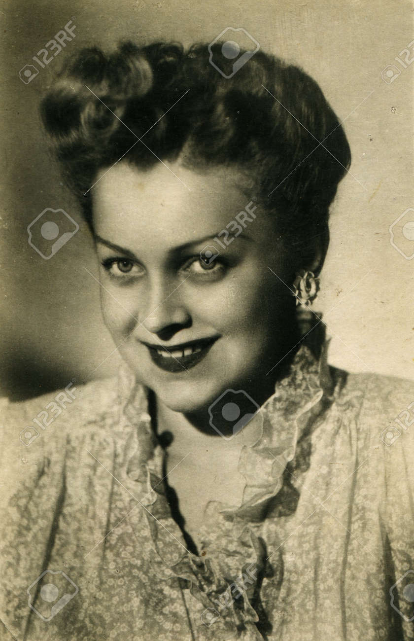 USSR  - CIRCA 1958  Postcard printed in the USSR shows actress Ludmila Tselikovskaya, circa 1958 Stock Photo - 12817889