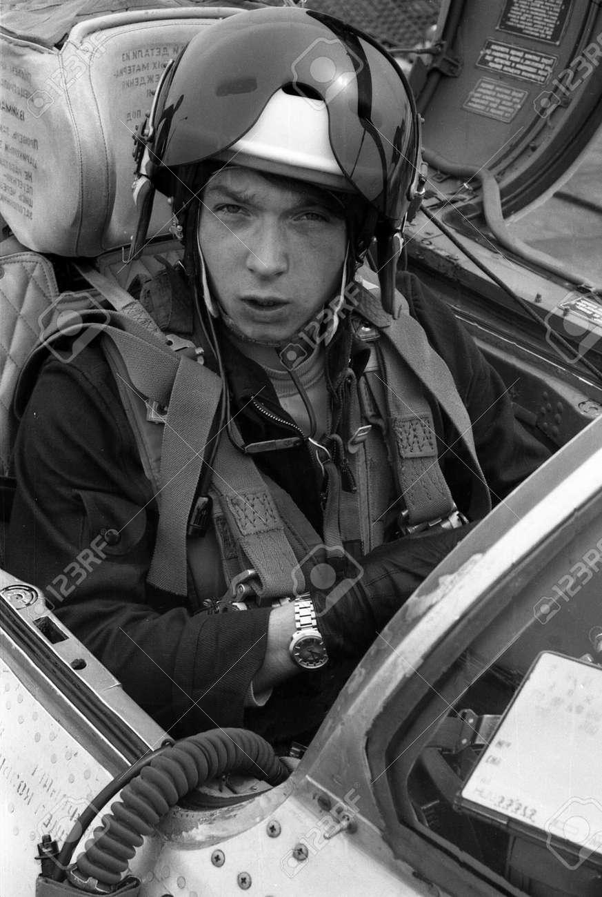 USSR - CIRCA 1976: pilot, his name is Lieutenant Valerii Poltoranin,