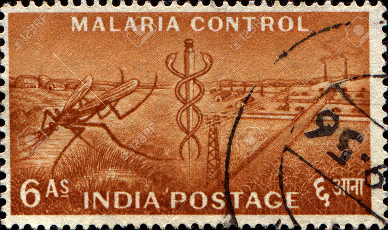 INDIA - CIRCA 1955  A stamp printed in India honoring Malaria Control, shows Mosquito and Staff of Aesculapius; Five Year Plan series, circa 1955 Standard-Bild - 13327506