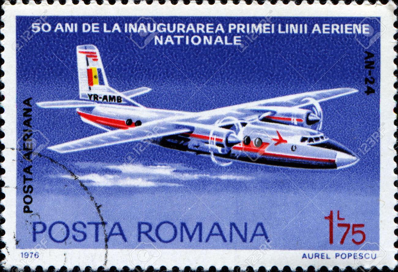 ROMANIA - CIRCA 1976: A stamp prtinted in Romania honoring 50th Anniversary of Romanian Airline, shows Antonov An-24, circa 1976 Stock Photo - 14093233