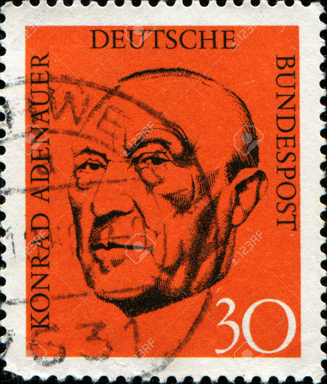 GERMANY - CIRCA 1968  A stamp printed in German Federal Republic show Chancellor Konrad Adenauer, circa 1968 Stock Photo - 14147965