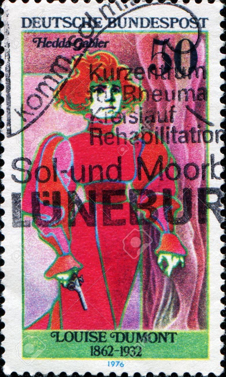 GERMANY - CIRCA 1976  A stamp printed in the Germany, the German actress portrayed Louise Dumont as Hedda Gabler, circa 1976  Stock Photo - 14175157