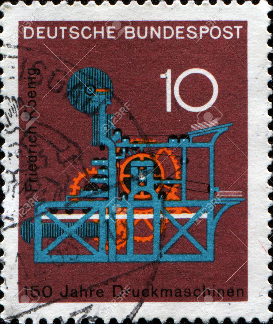 image relating to Printable Postage Stamps named GERMANY - CIRCA 1968 A stamp posted inside German Federal Republic..