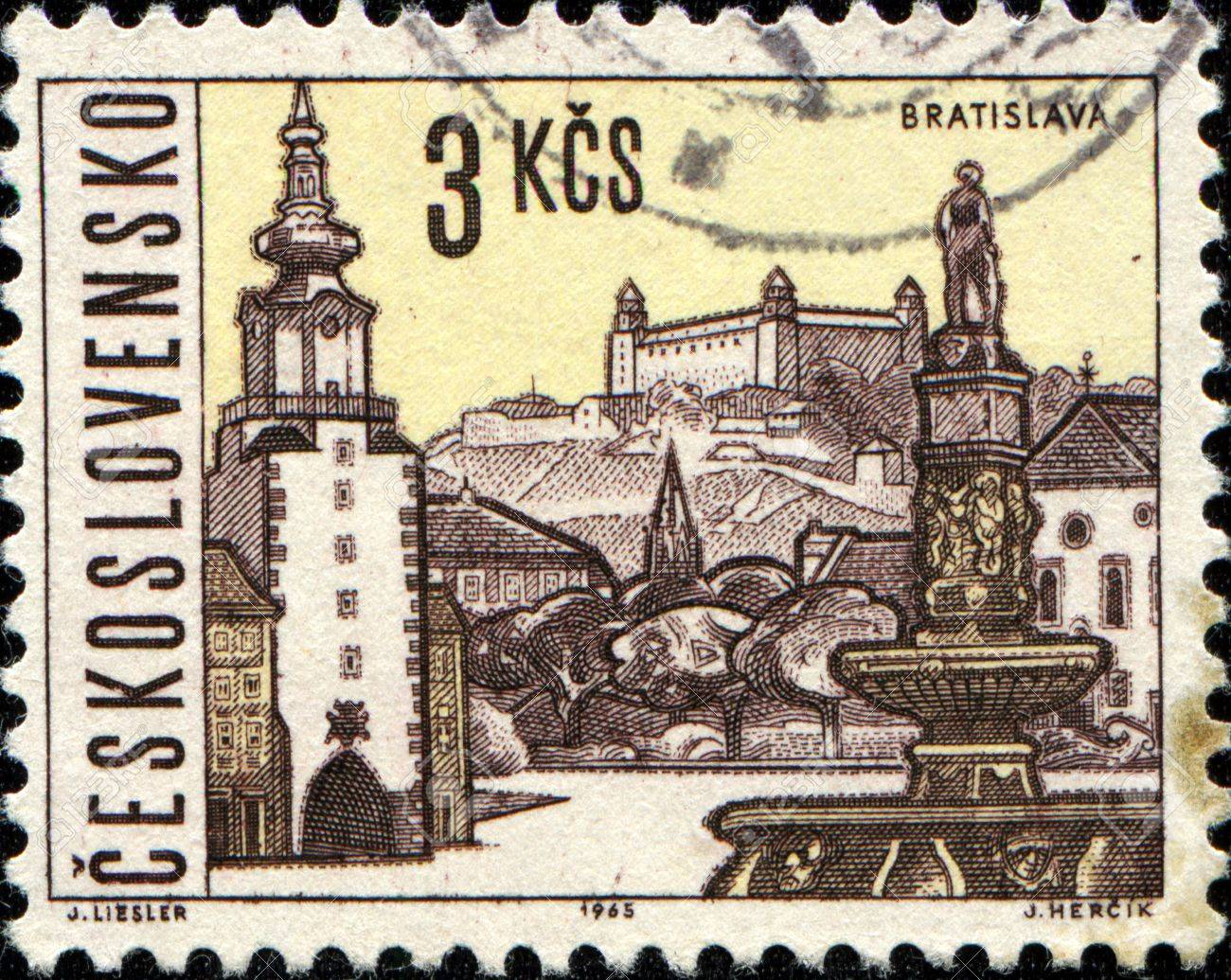 CZECHOSLOVAKIA - CIRCA 1965  A stamp printed in Czechoslovakia shows  Bratislava, the capital of Slovakia, circa 1965 Stock Photo - 14198634