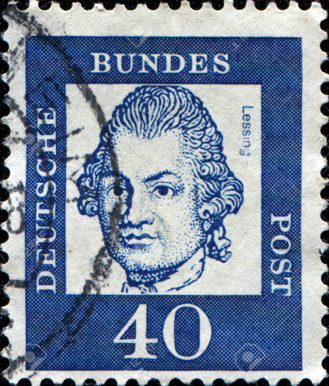 GERMANY - CIRCA 1961  A stamp printed in Germany shows Gotthold Ephraim Lessing, circa 1961  Stock Photo - 14200602