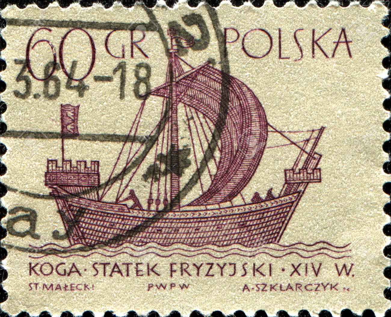 POLAND - CIRCA 1963  A stamp printed in POLAND shows koga merchant ship, series, circa 1963 Stock Photo - 14332804
