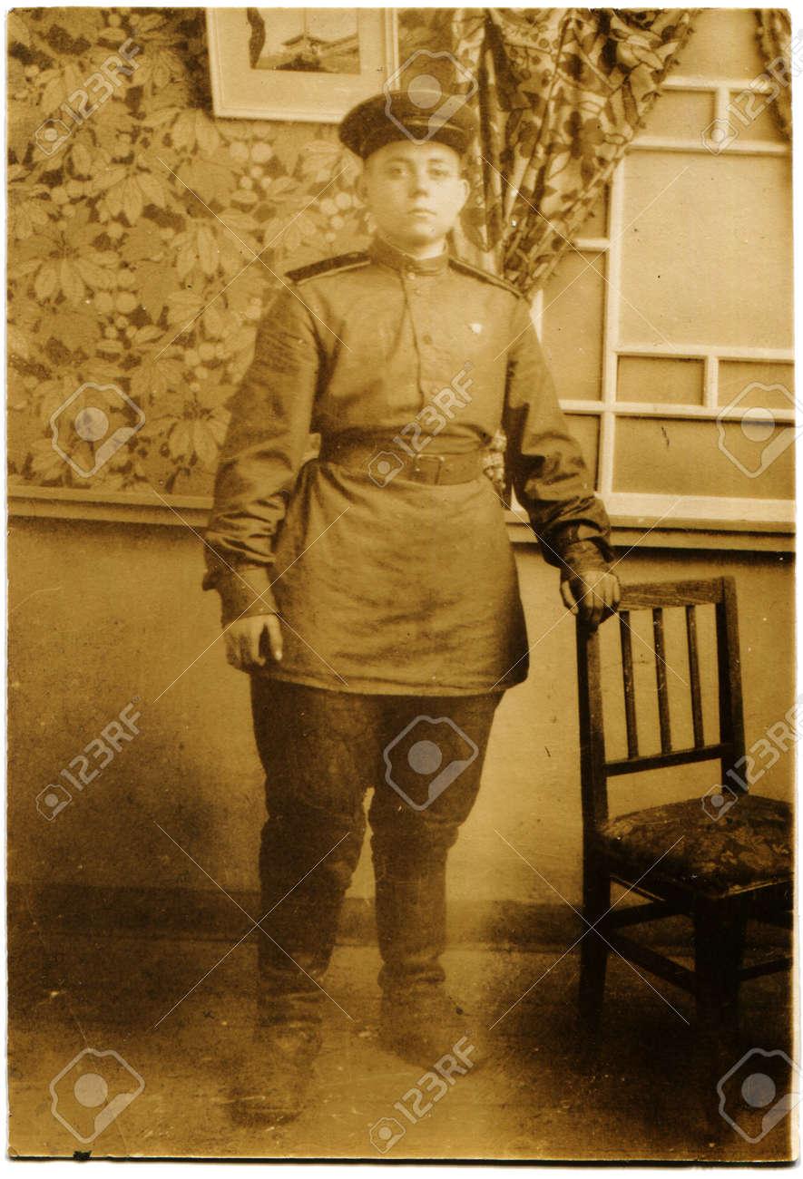 韓国 - 1946年ソ連軍兵士の肖像画北朝鮮、韓国、1946 年頃頃 の写真 ...