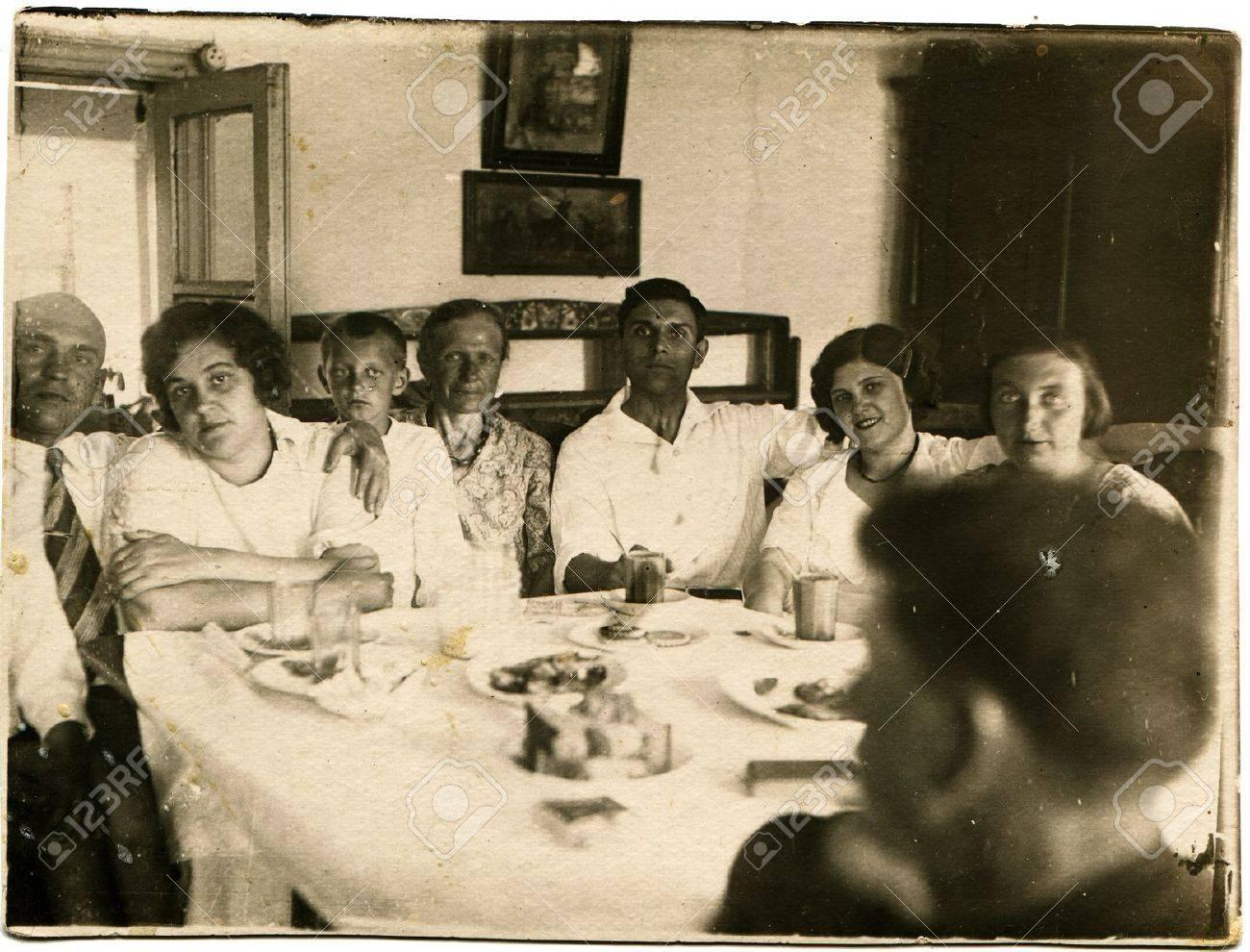 USSR - CIRCA 1936  Family Feast, circa 1936 Stock Photo - 14499748