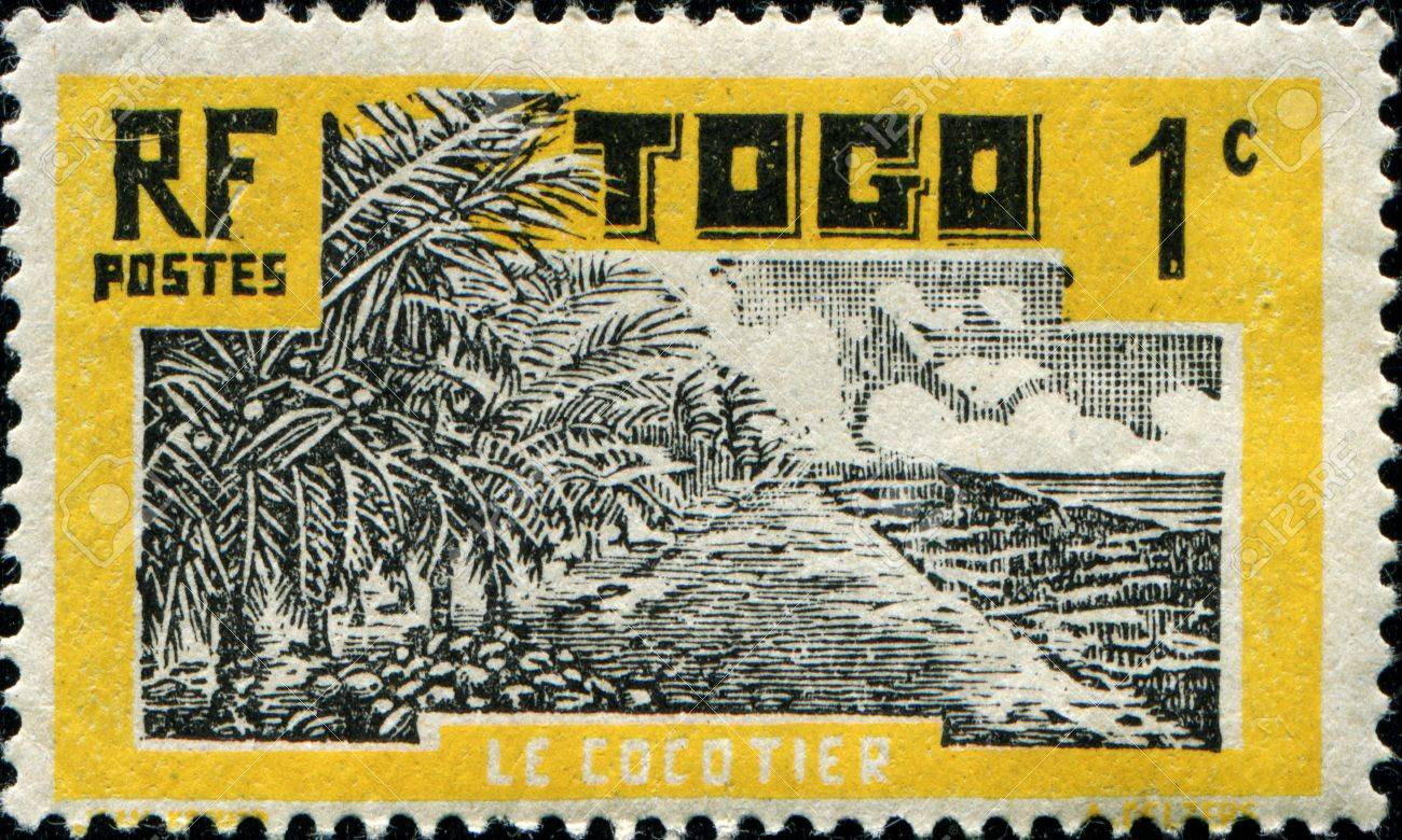 TOGO - CIRCA 1924 A stamp printed in Togo  Anglo French Occupation of Togo, French Mandate shows Coconut Palms , circa 1924 Stock Photo - 14520548