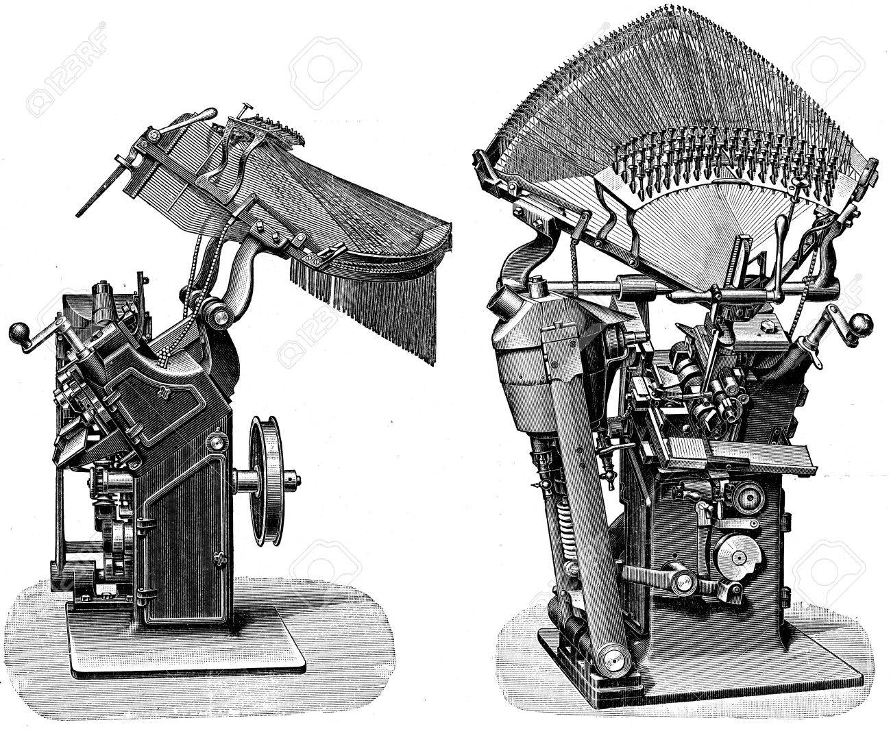 Rogers and Britt typesetter - an illustration of the encyclopedia publishers Education, St  Petersburg, Russian Empire, 1896  Stock Photo - 14520720