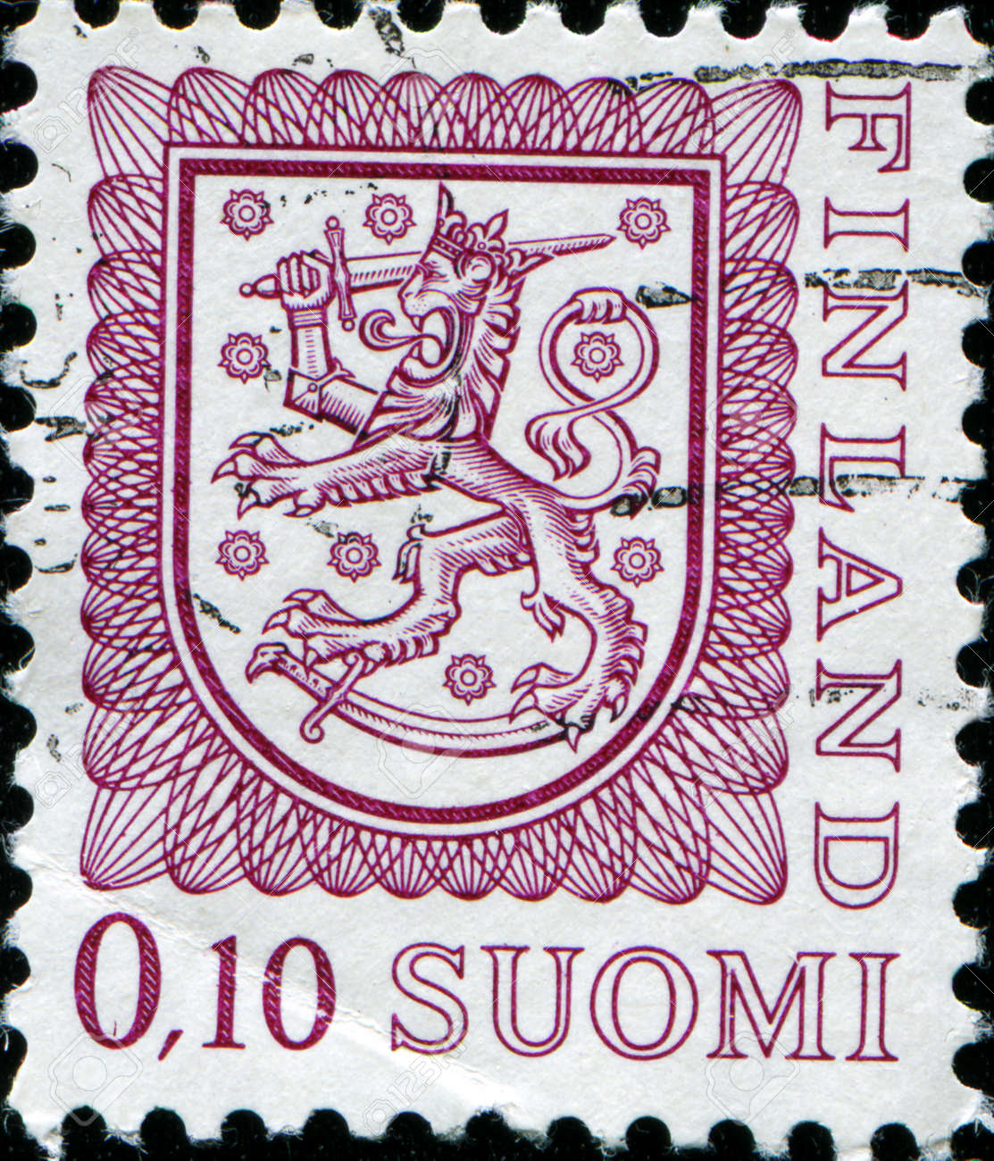 FINLAND - CIRCA 1974  A stamp printed in Finland shows Coat of arms of Finland, circa 1974  Stock Photo - 17262050