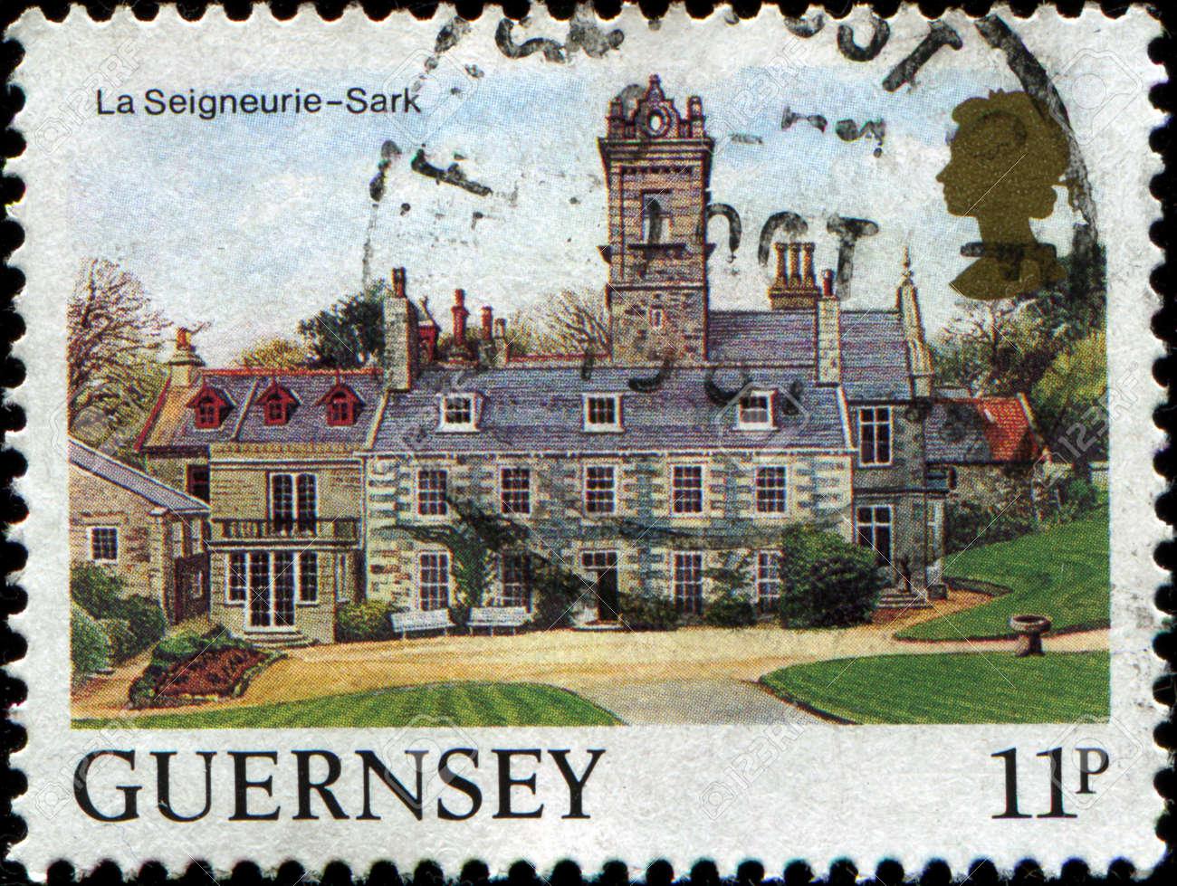 GUERNSEY - CIRCA 1984  A stamp printed in  Guernsey shows Views La Seigneurie, Sark, circa 1984 Stock Photo - 17269750