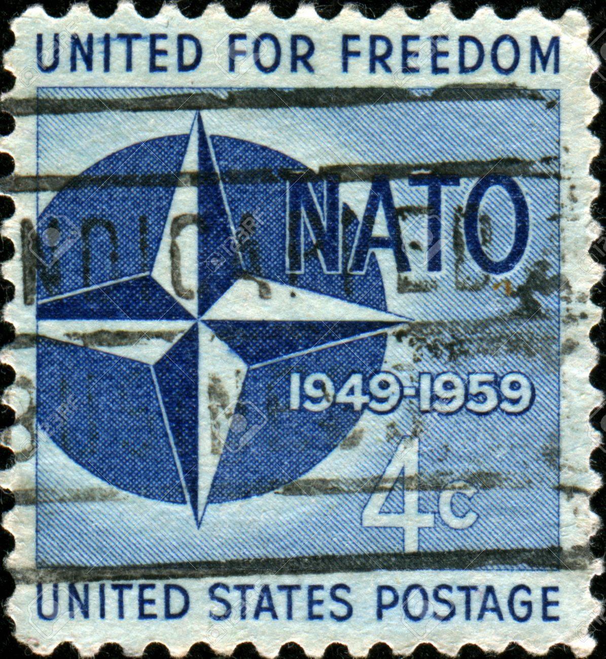 UNITED STATES OF AMERICA - CIRCA 1959: A stamp printed in the United States of America shows NATO Emblem, 10th anniversary of North Atlantic Treaty Organization, circa 1959  Stock Photo - 17269813