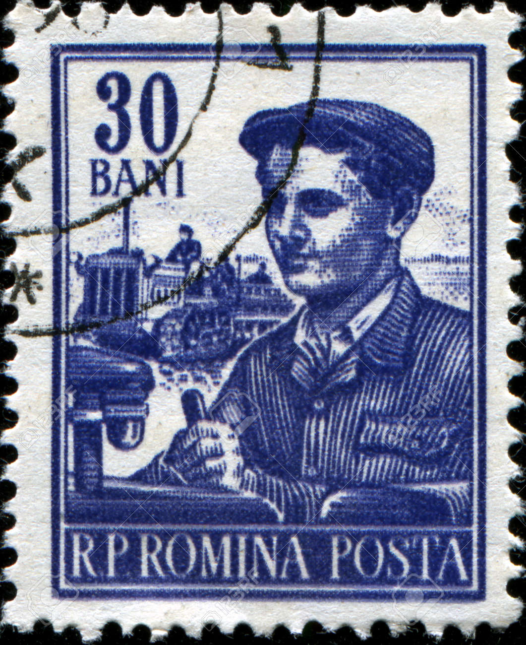 ROMANIA - CIRCA 1955: A stamp printed in Romania shows Tractor driver, series, circa 1955  Stock Photo - 17262140