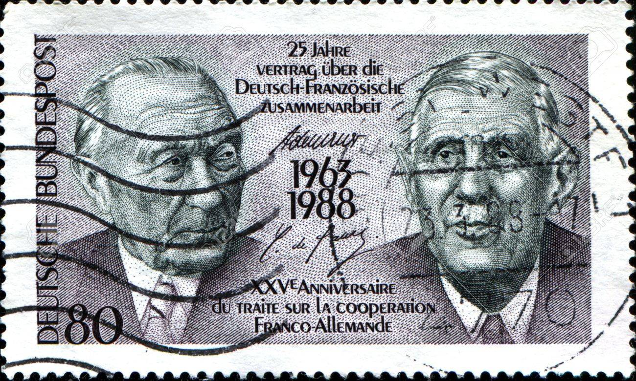 GERMANY - CIRCA 1988  A stamp printed in German Federal Republic dedicated to 25th anniversary of the Franco-German Cooperation Treaty, shows the Konrad Adenauer and Charles de Gaulle, circa 1988  Stock Photo - 17950321