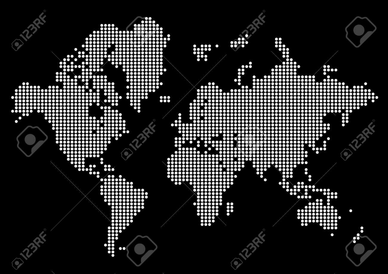 Abstract world map made of dots white dot world on black background abstract world map made of dots white dot world on black background stock vector gumiabroncs Choice Image