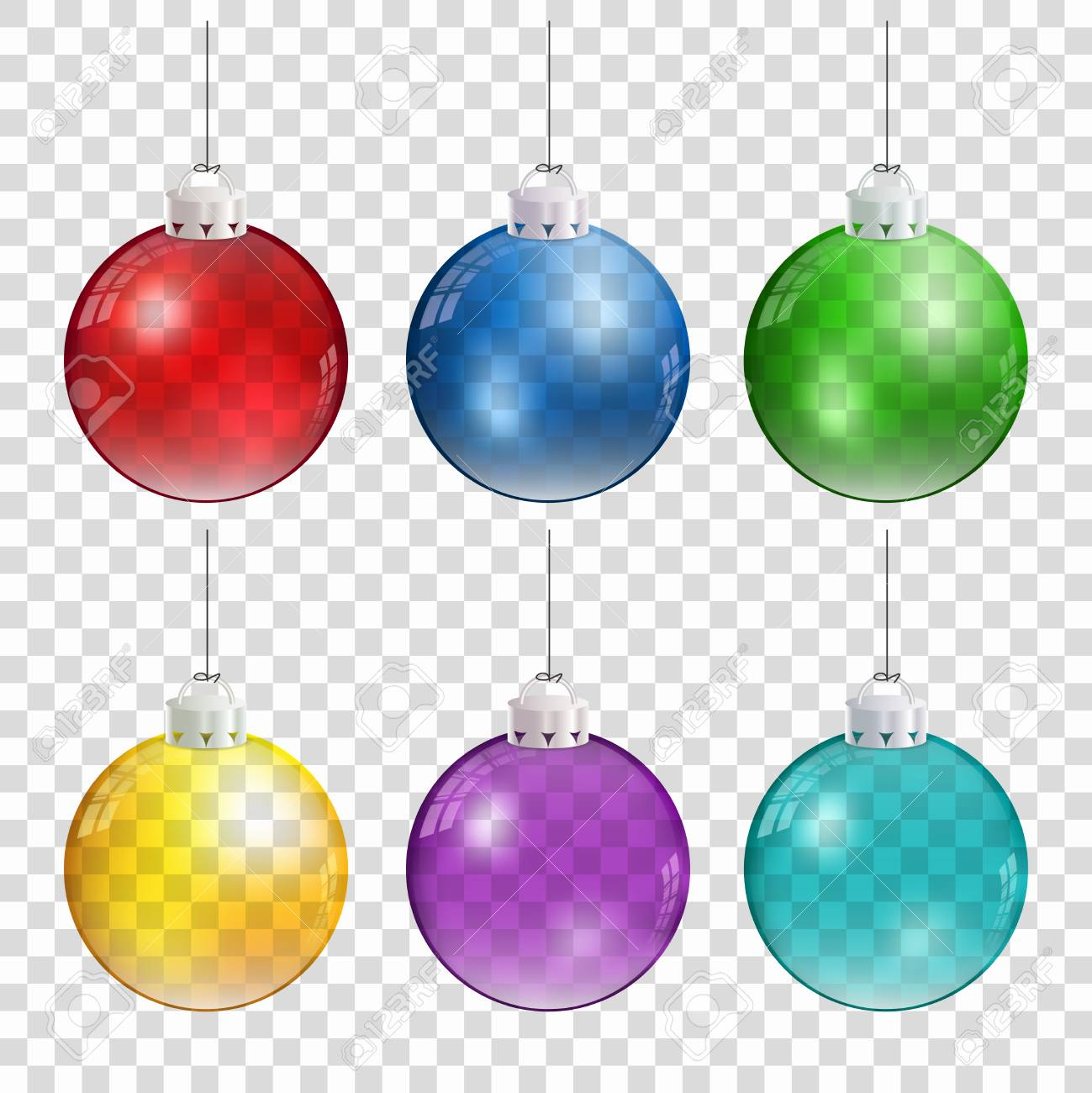 Realistic Christmas Balls In Different Colors Hanging On Transparent Background Stock Vector