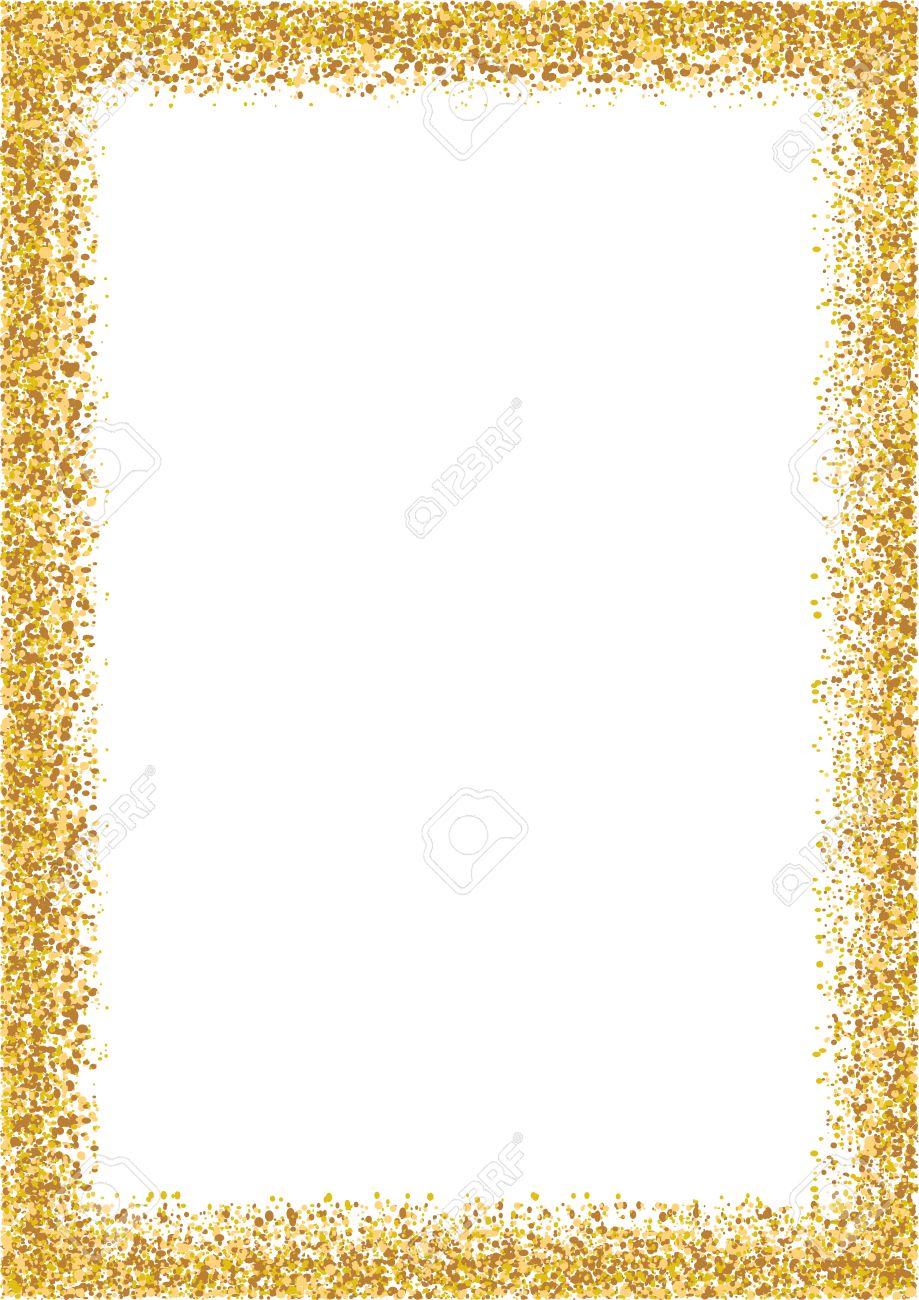 Marco De Brillo Tamaño De Formato A4 De Oro. Resplandeciente Marco ...