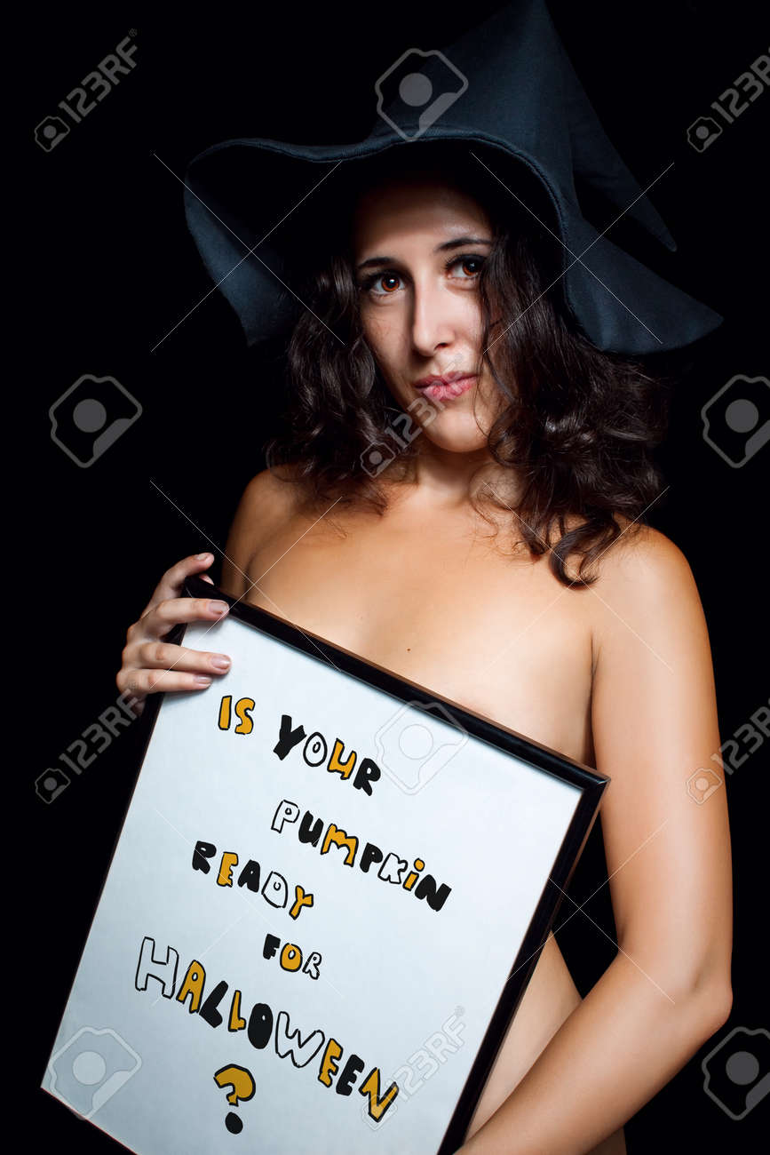 Pretty Naked Girl Posing Over Dark Background With Sign Stock Photo 12162061