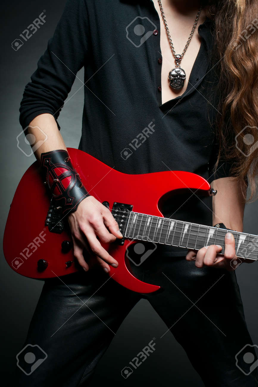 Hands of guitarist who playing electic guitar Stock Photo - 12163887