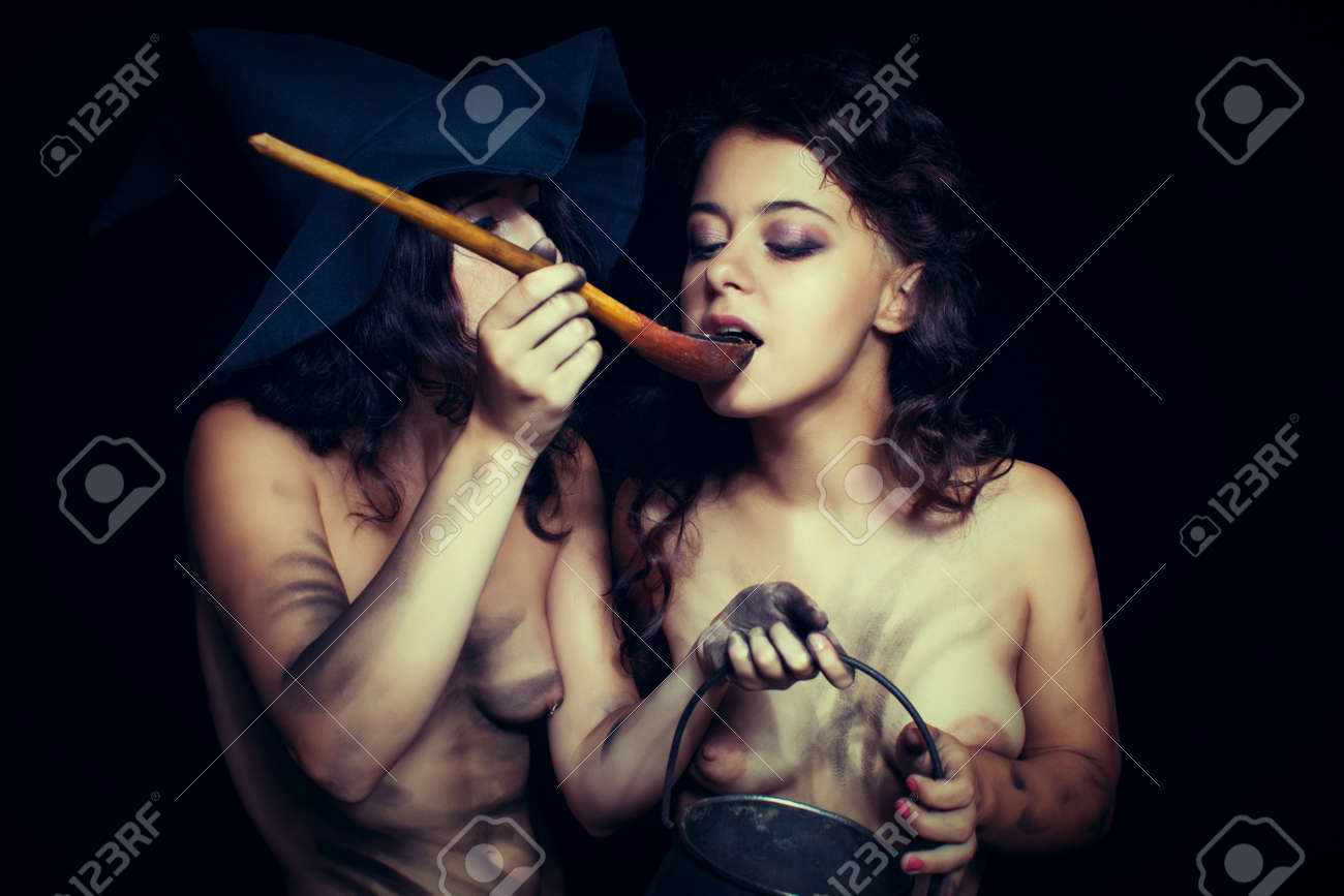 Stock Photo - Two sexy dirty nude witch having a breakfast