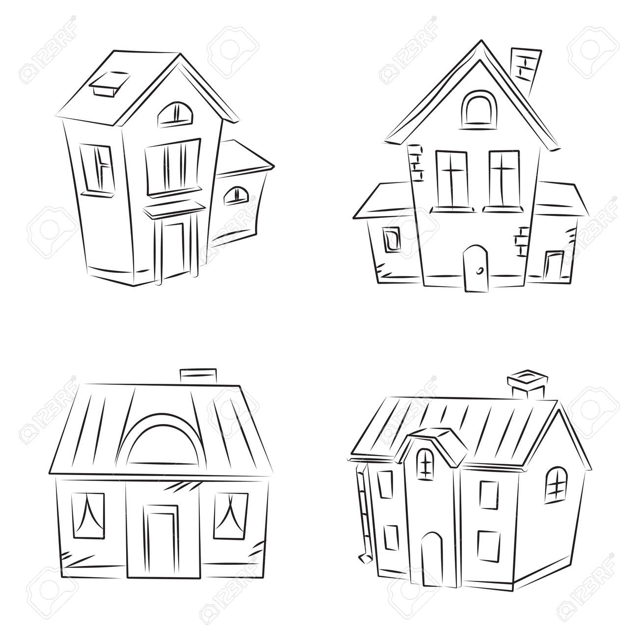 Set of sketches &quot, Beautiful Houses&quot, Stock Vector - 8152596