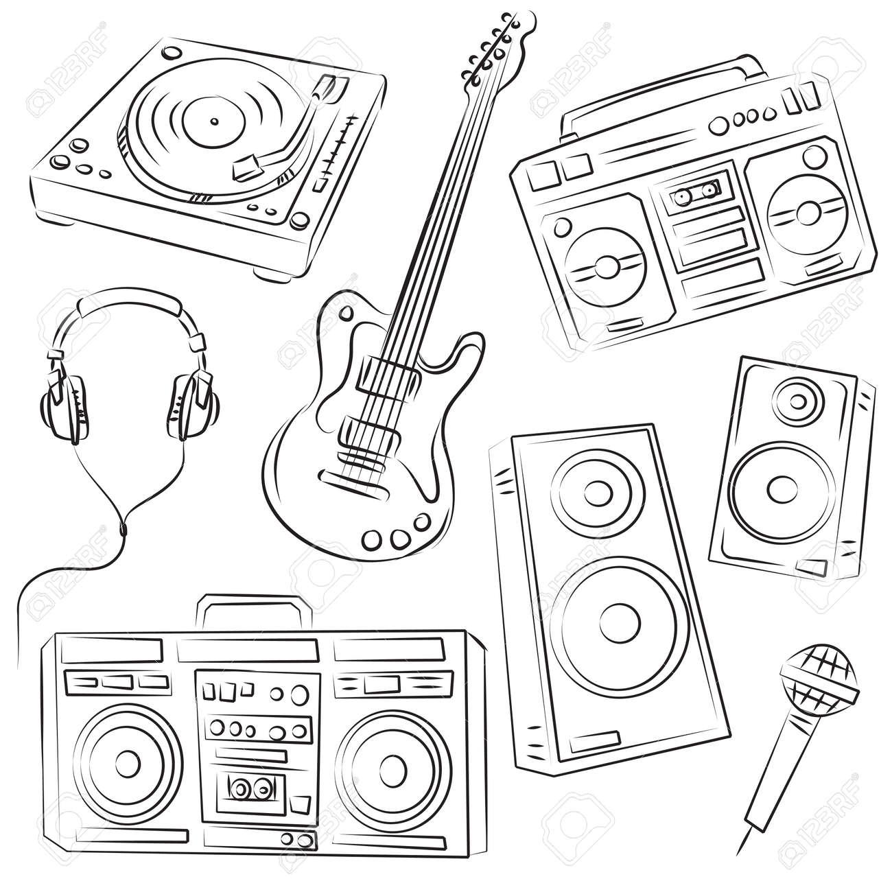 Music Set Sketch Stock Vector - 8152643