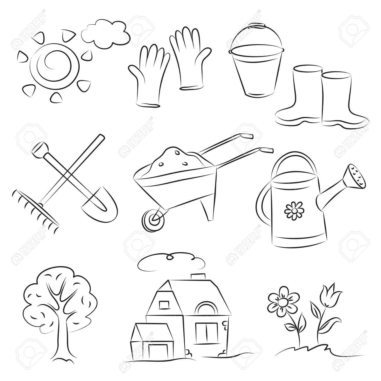 Gardening Sketch Set Stock Vector - 8152647