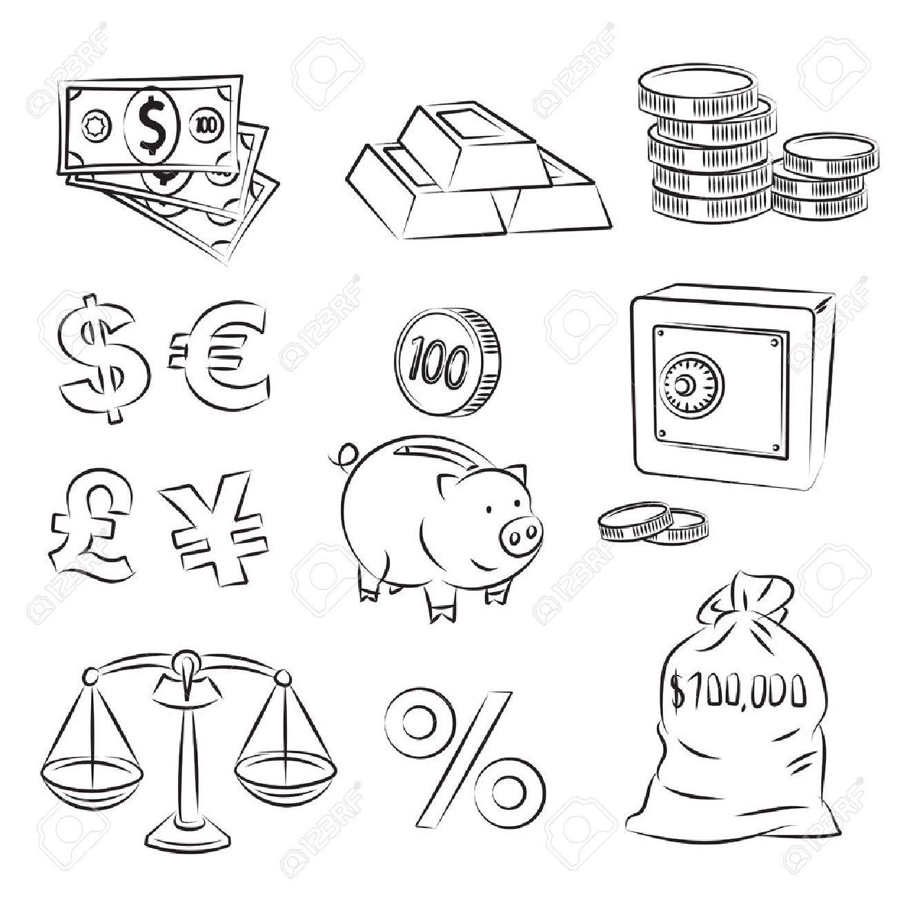 Money Sketch Set Stock Vector - 8703795