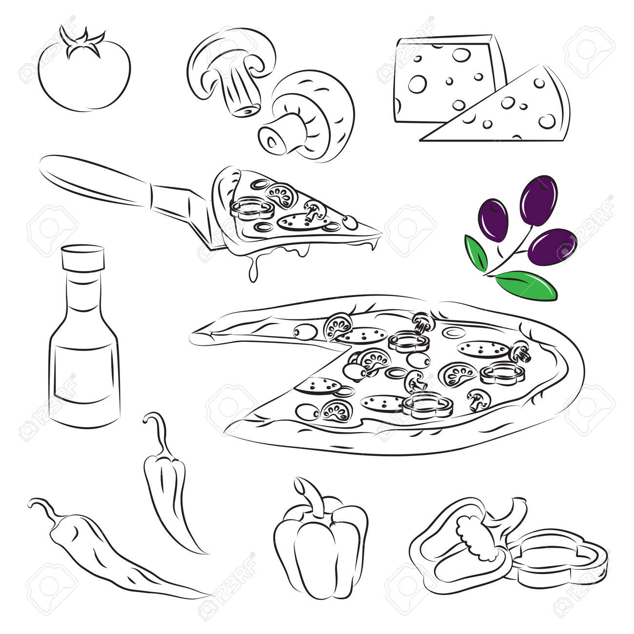 Pizza Set Stock Vector - 9081425