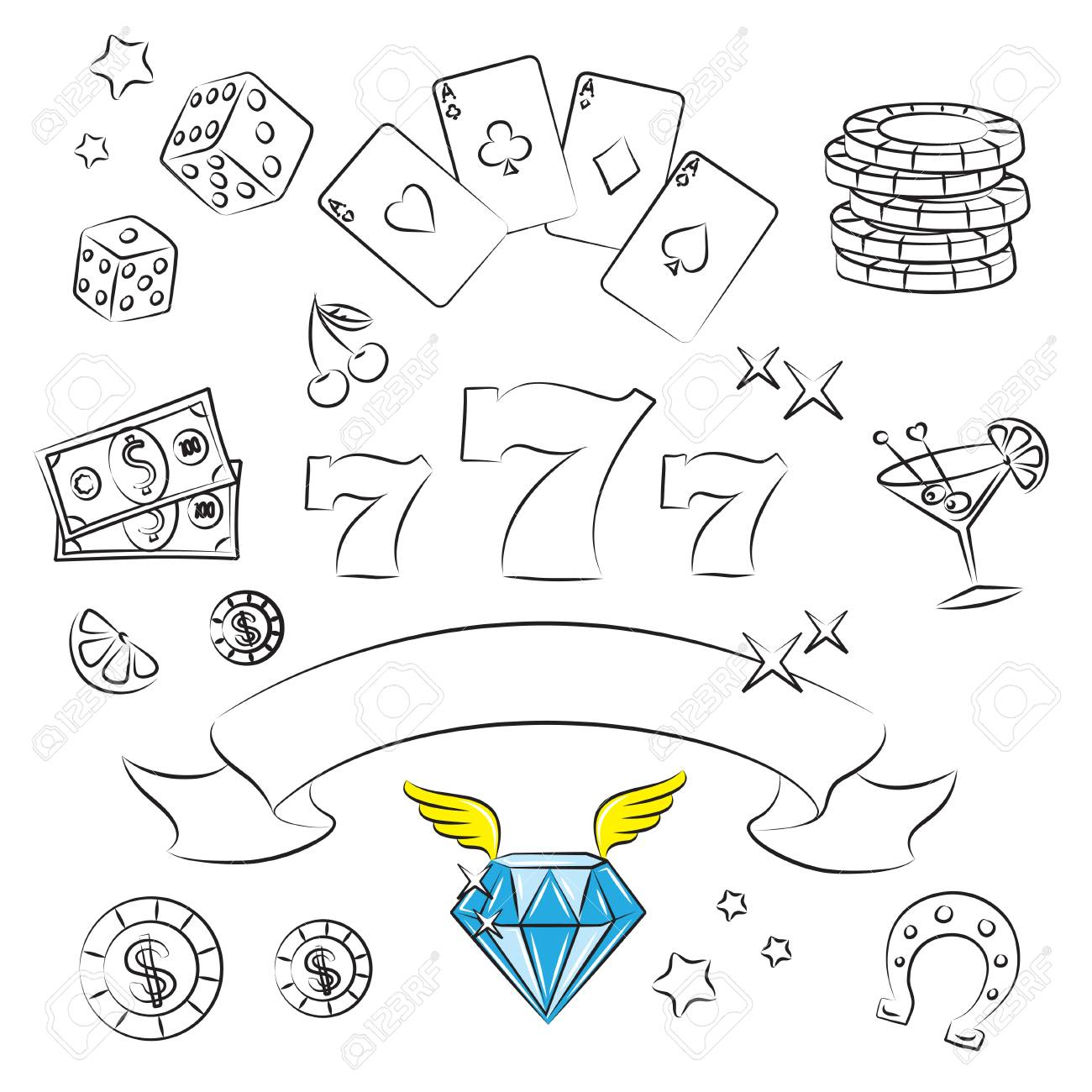 Casino Elements Collection Stock Vector - 9507647