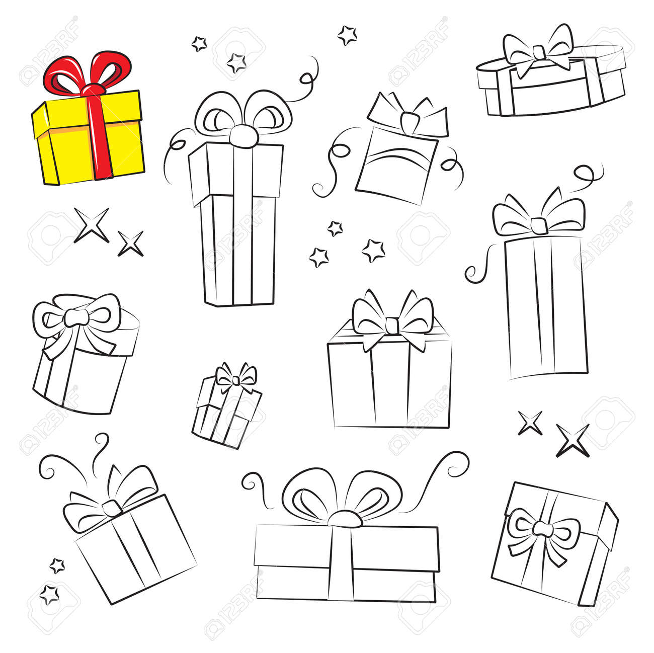 Gift Box Collection. Easy to colorize Stock Vector - 11152732