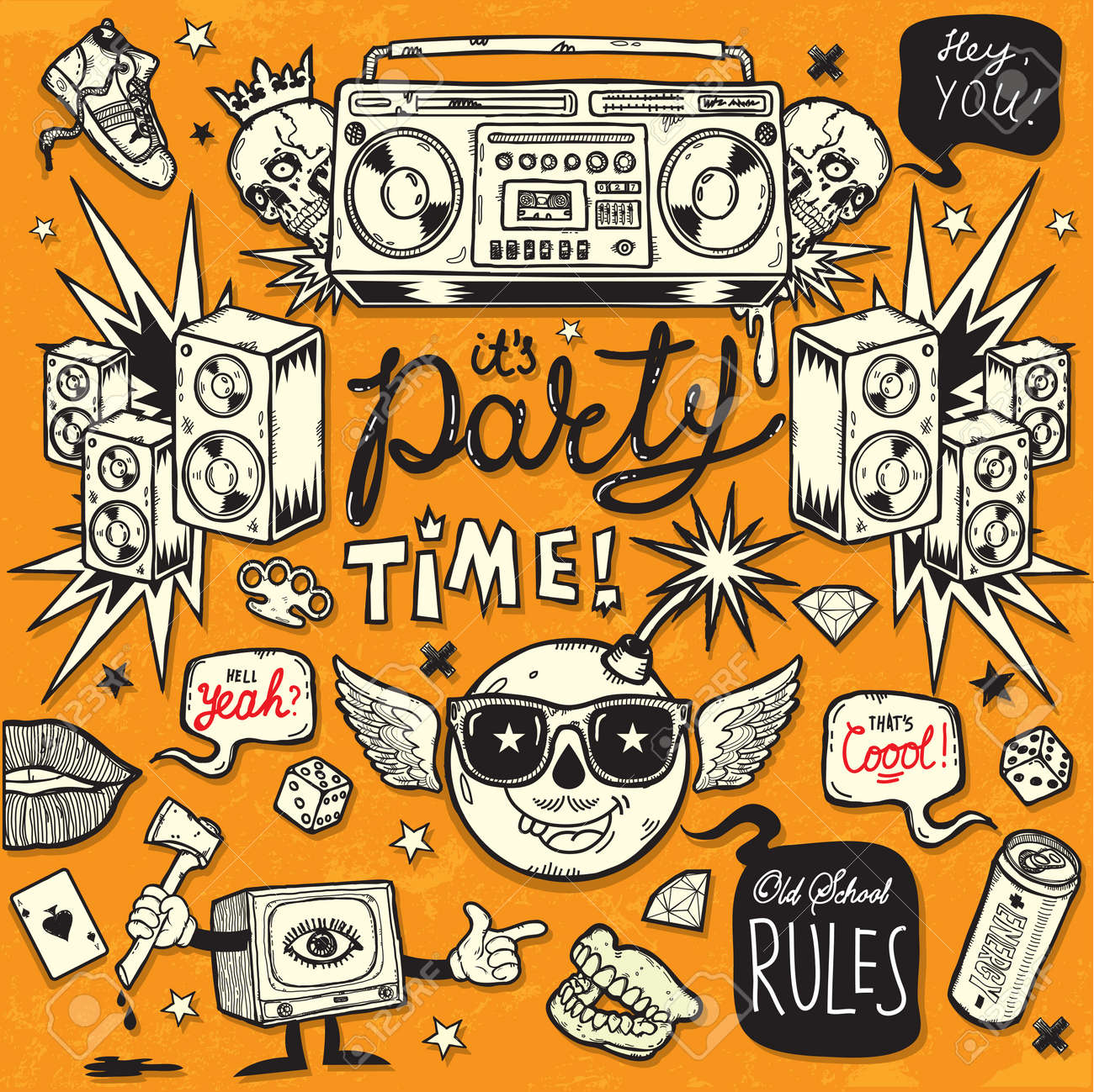 Old School Style Party Stock Vector - 16221490