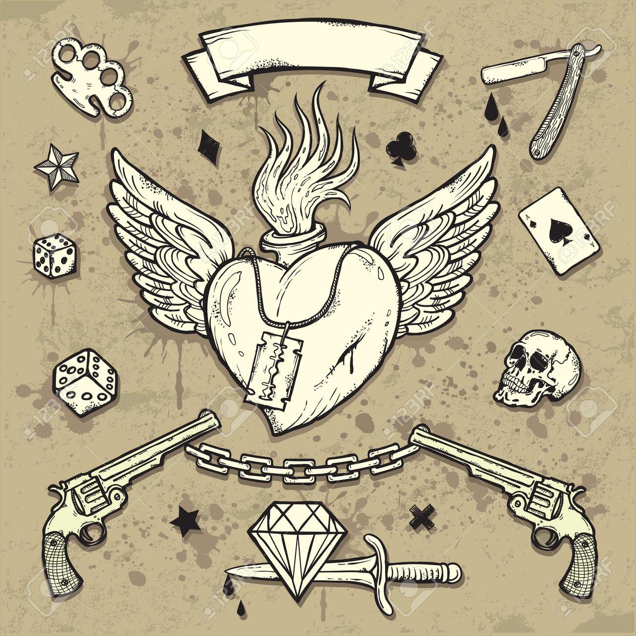 573f019782f41 Set Of Old School Tattoo Elements Royalty Free Cliparts, Vectors ...