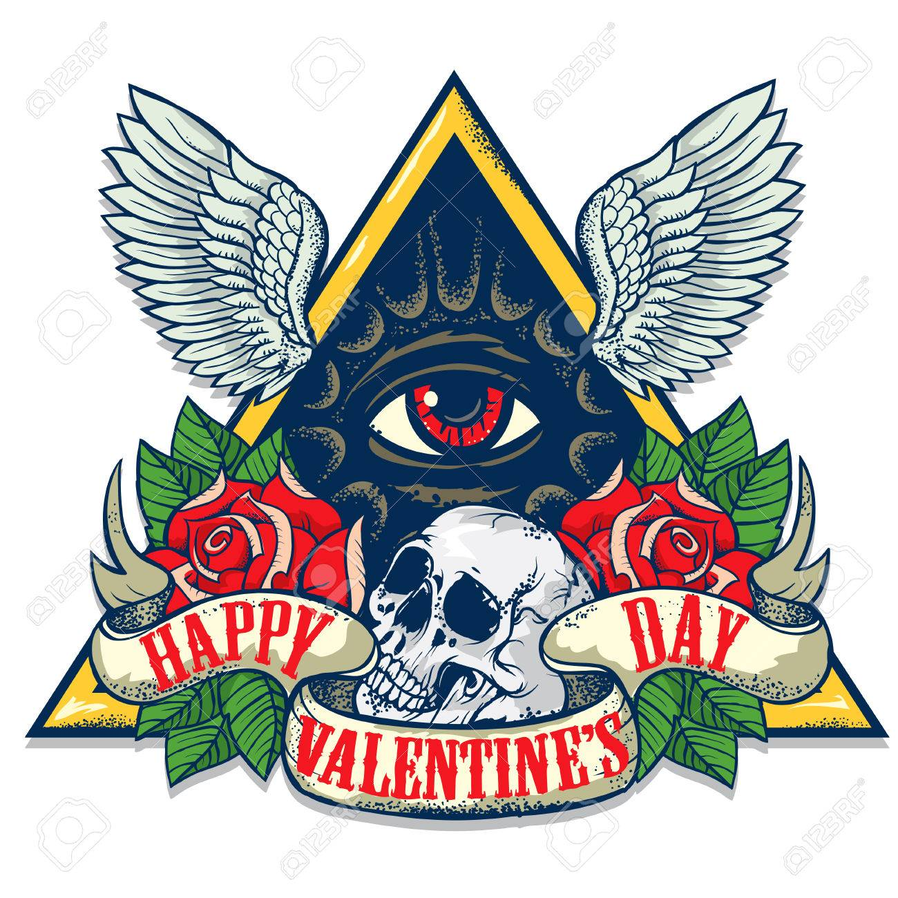 Vector Tattoo Art On The Theme Of Valentines Day Tattoo Art