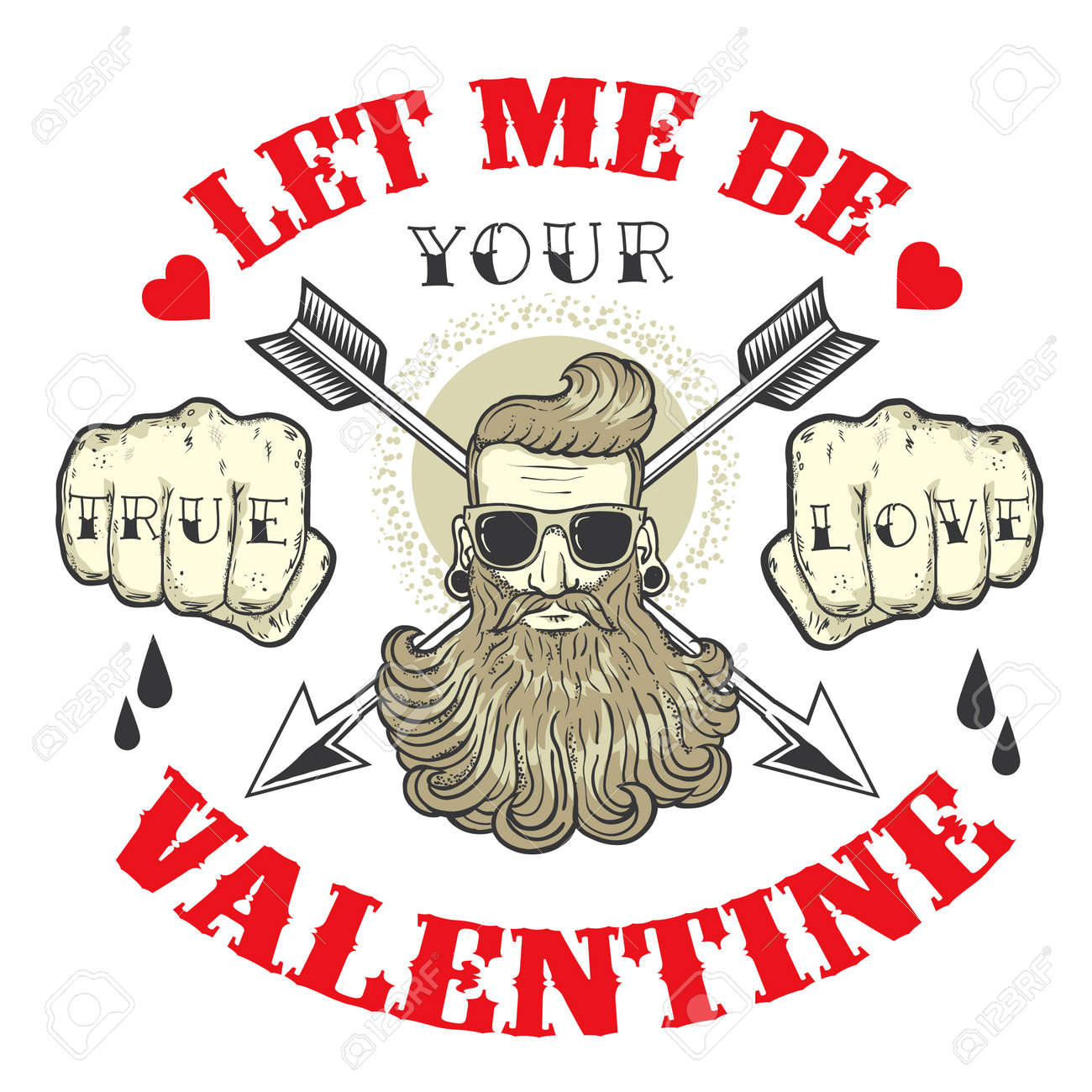 Cool Vector Card On The Theme Of Valentines Day Tattoo Art Design