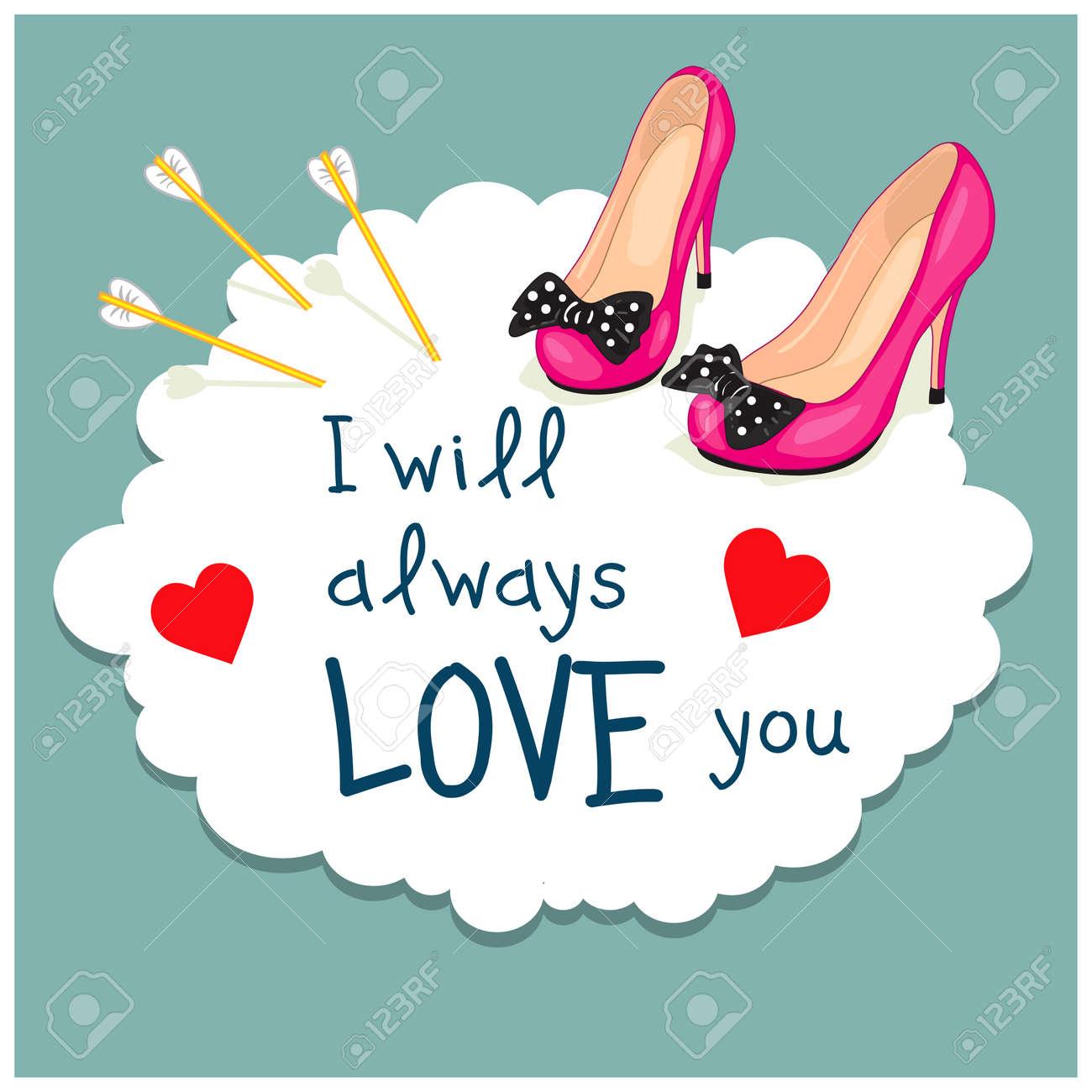Cartoon Grußkarte Valentinstag. Bild Der Eleganten Weiblichen Schuhe ...