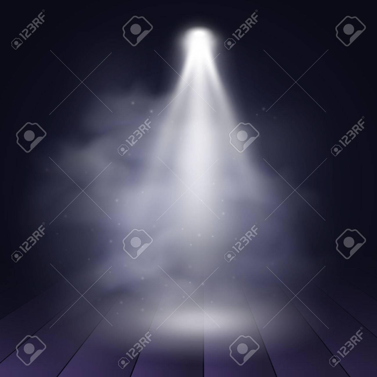 Spotlight disco illuminated wooden scene decoration club theater. Vector projection presentation background illustartion. Spotlight background vector. Stage spotlight. Spotlight effect on scene. - 59722468