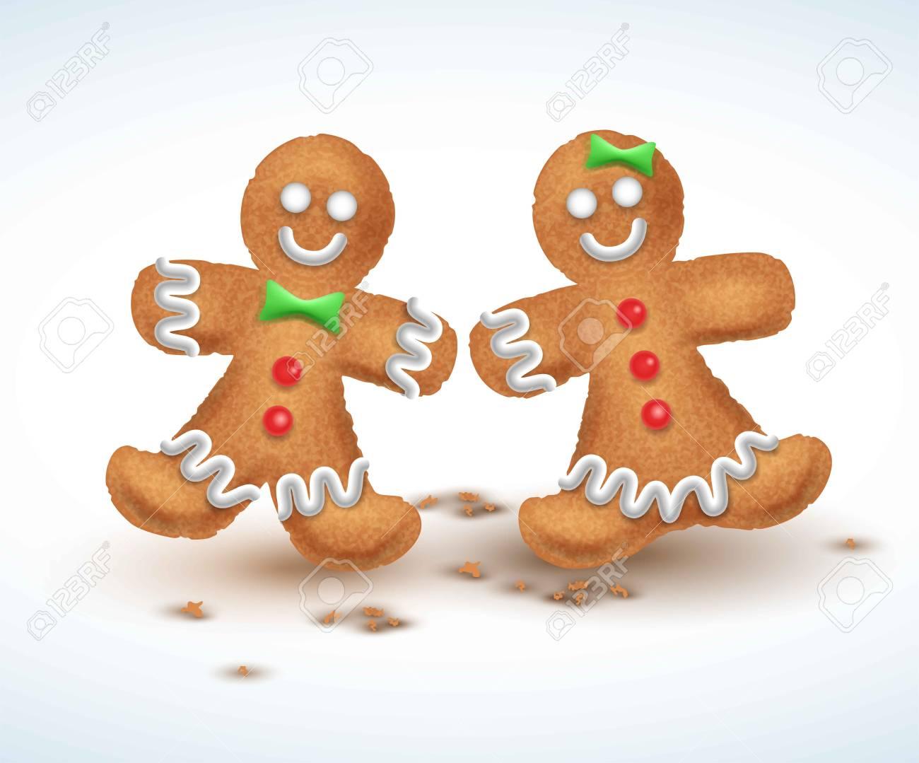 ジンジャーブレッドのクッキーベクトル イラスト S お正月クリスマス