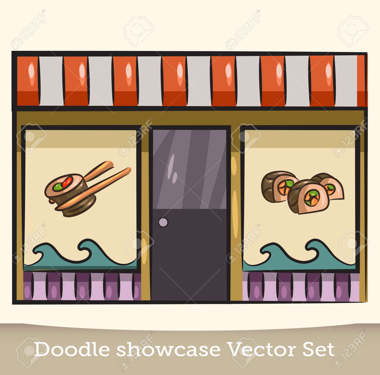 Doodle Showcase Sushi Restaurant Vector Set Royalty Free Cliparts Vectors And Stock Illustration Image 126876066