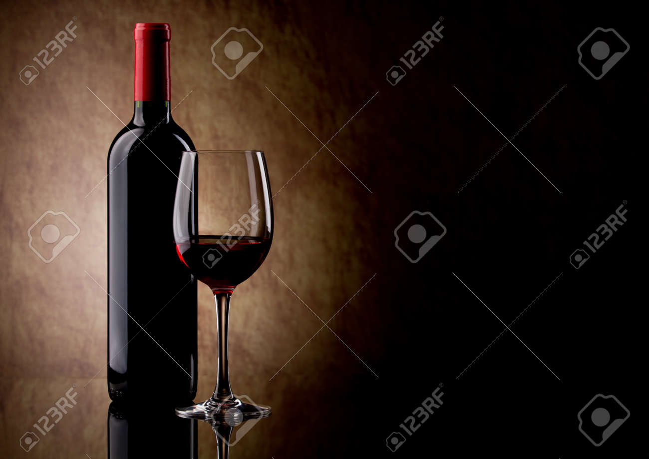 bottle with red wine and glass Stock Photo - 10692584
