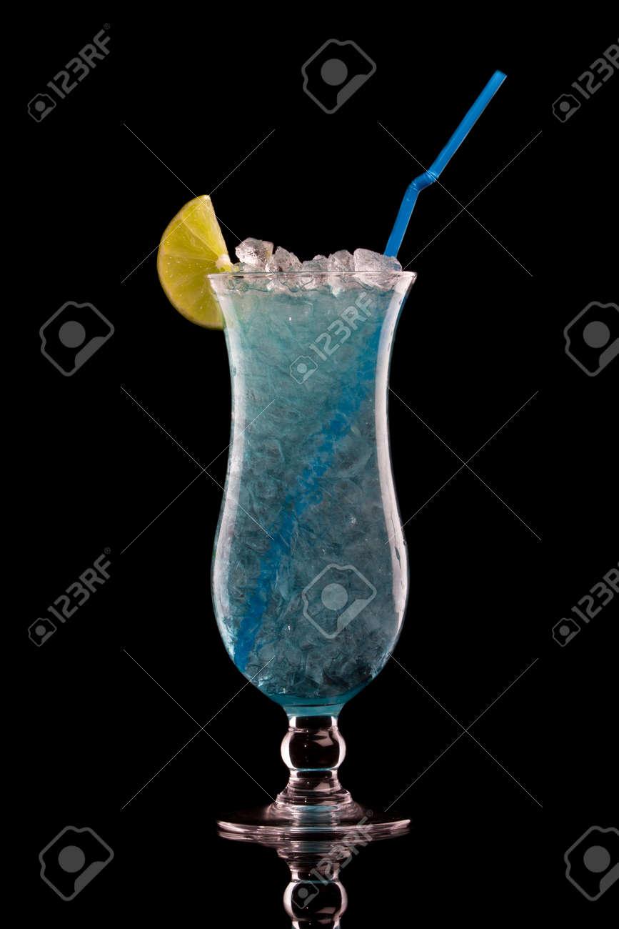 Blue Hawaiian cocktail on a black Stock Photo - 10692662