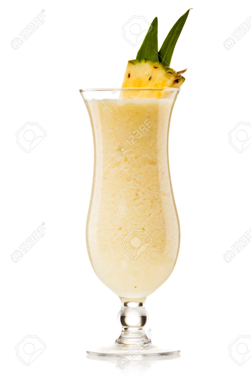 Pina colada drink cocktail glass isolated on white background Stock Photo - 10692644