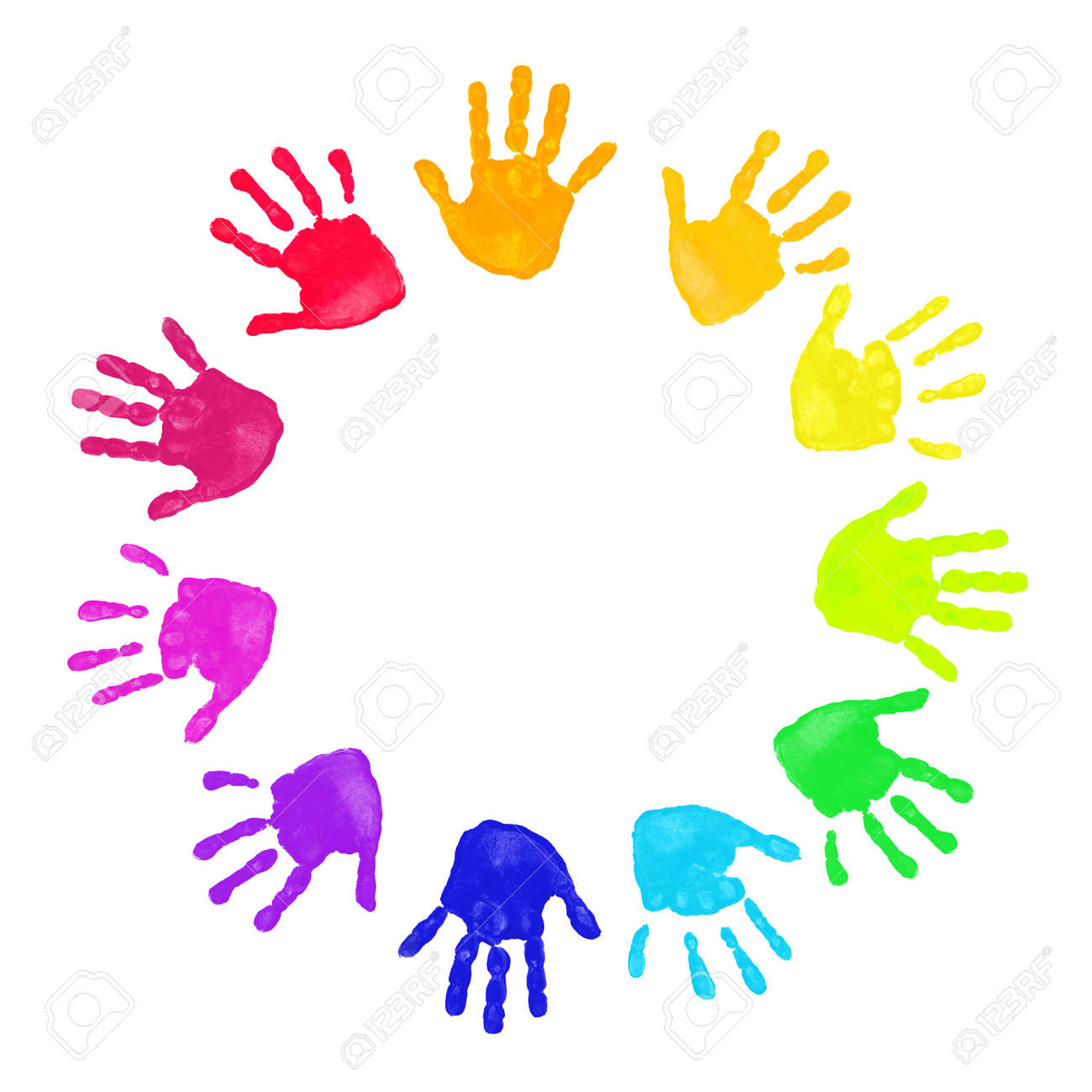 Set of colorful hand prints in rainbow order isolated on white background Stock Photo - 8155823
