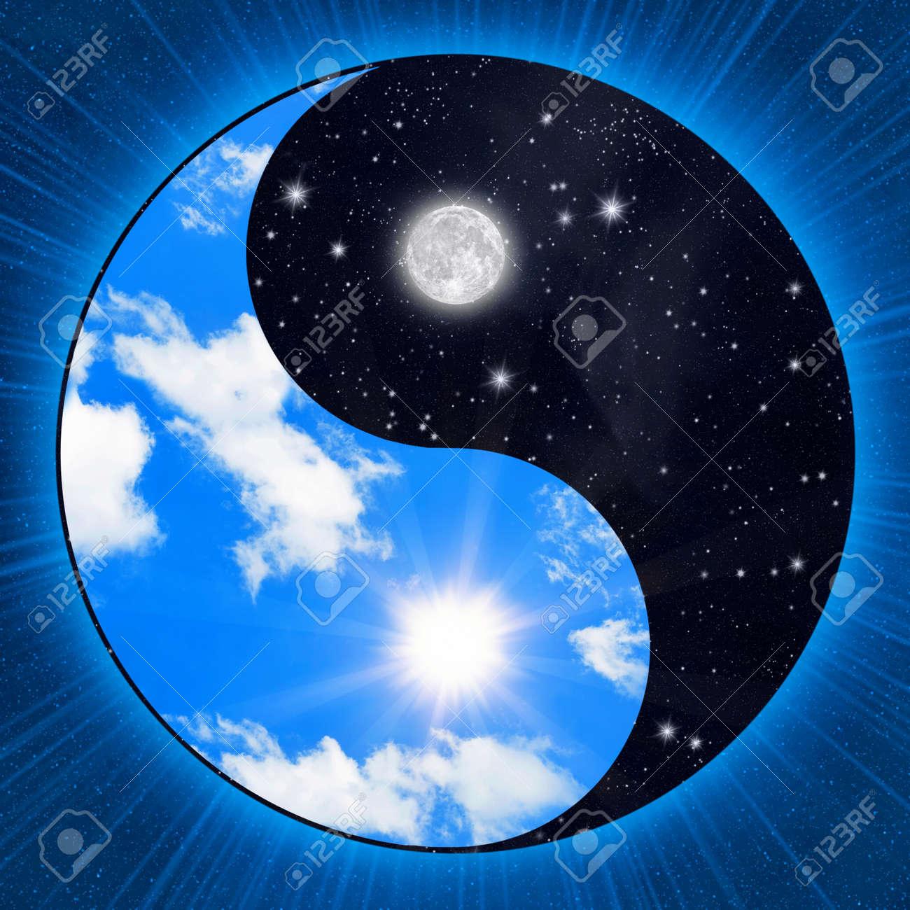 Yin yang symbol wigh clouds and stars stock photo picture and yin yang symbol wigh clouds and stars stock photo 12332713 biocorpaavc