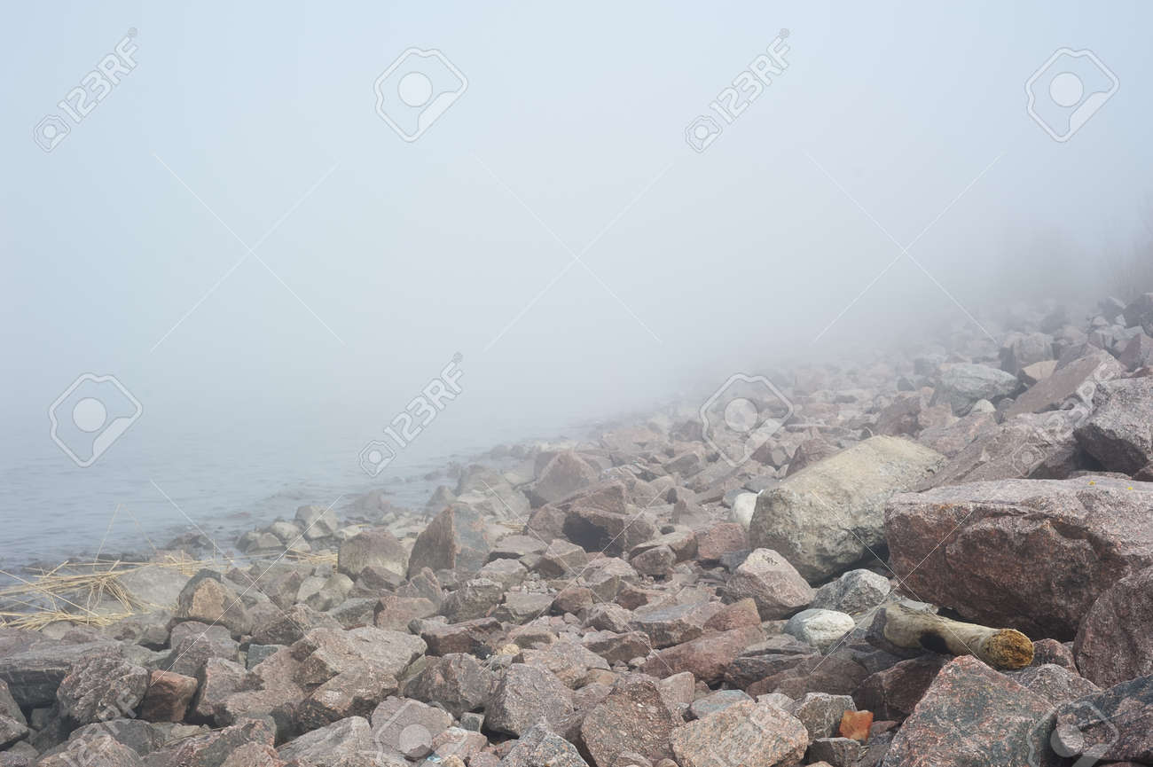 Landscape with fog over lake Stock Photo - 13767718
